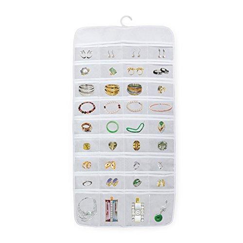 Hängende Aufbewahrung Organizer Schmuck Zubehör Aufbewahrungstasche mit 72 Display transparente Taschen Platz Weiß Farbe owfeel hängende Aufbewahrung Taschen