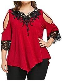 Mujer Camisas Talla Grande Verano Mangas 3/4 V-Cuello Off Shoulder Tops Splice