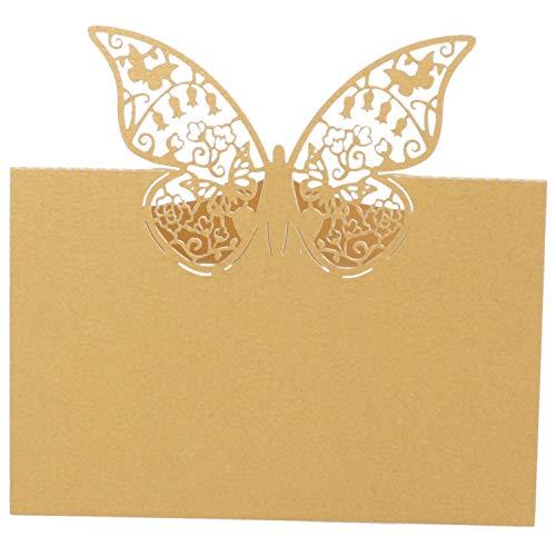 ling Papier Ort Tisch Nummern Gast Sitzpl?TZE Namens Karten FüR Hochzeit Party Dekoration (Gold) ()