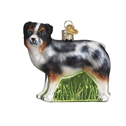 Old World Christmas Australian Shepherd Glass Ornament Free Box 12550 New -