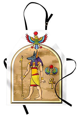 ABAKUHAUS ägyptisch Kochschürze, Grafik von Anubis von altem Ägypten im Papyrus-Art-Alten Mythos-Symbol-Erbe, Farbfest Höhenverstellbar Waschbar Klarer Digitaldruck, Mehrfarbig
