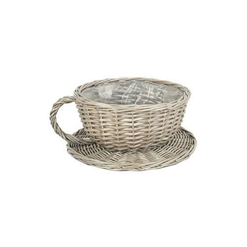 Antike Reinigen Weide Tee Tasse und Untertasse Korb Blumentopf Halter Pflanzentopf