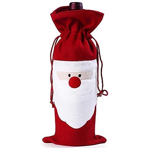 Topways® Christmas Santa Claus Red Wine Bags Noël Père Noël Red Wine Bottle Drawstring Pouch Sacs Table Dîner Décoration de Noël Accueil Party Decors 1Pcs