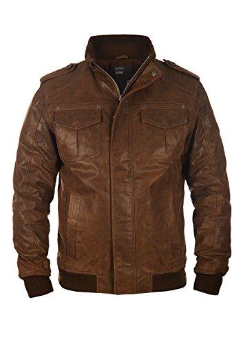SOLID Cash Herren Lederjacke Echtleder Bikerjacke aus gewaschenem 100% Rau-Leder, Größe:XL, Farbe:Cognac (5048)