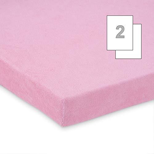 Doppelpack FabiMax 3535 Frottee Spannbettlaken für Beistellbett und Wiege, 90 x 55 cm, rosa