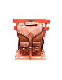 Genuine Leather Vertical Back Pack Messenger Bag Brown BY Bag House