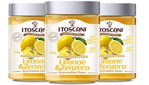 Marmellata extra di Limone e Zenzero 3 confezioni da 320 g - i Toscani. Senza GLUTINE, senza CONSERVANTI aggiunti, italia