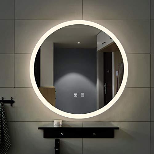 ATO ROMX Runder LED-Spiegel Badezimmer, LED beleuchtete Badezimmerwand Runder Spiegel mit dimmbarem warmem Weiß/Tageslicht, Rahmenlos, beschlagfrei, wasserdicht