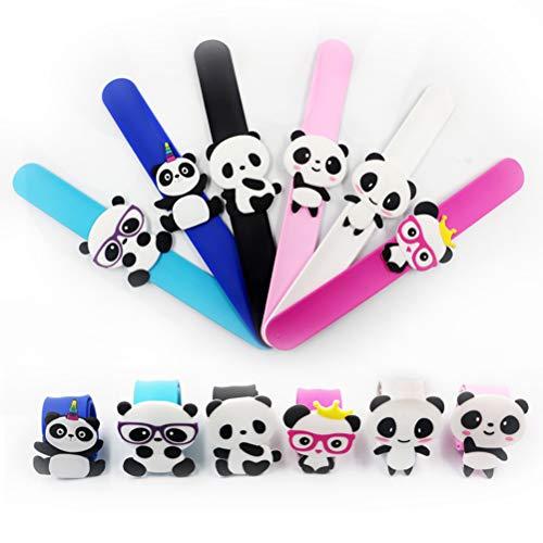 Amosfun 8 stücke Kinder Slap Armband Weichen Panda Armbänder Dekoration Silikon Armband für Geschenke Geburtstagsfeier und Schule Belohnungen Kinder Party Dekoration Zufällig