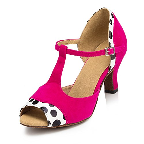 URVIP Neuheiten Frauen's PU Leder Heels Absatzschuhe Moderne Latein-Schuhe mit Knöchelriemen Tanzschuhe LD040 Fuchsie 36 CN