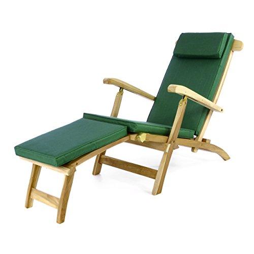 """Divero Divero Liegestuhl Deckchair """"Florentine"""" Steamer Chair mit Auflage Natur dunkelgrün"""