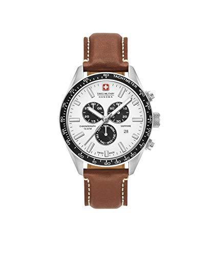 Swiss Military Herren Chronograph Quarz Uhr mit Leder Armband 06-4314.04.001