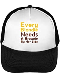 Every Blondie Needs A Brownie by Her Side Gorras Hombre Snapback Beisbol Negro Blanco One Size