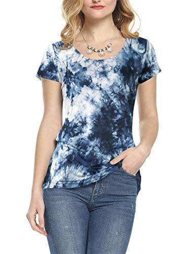Blue Tie-dye-t-shirt (AMORETU Damen T-Shirt, Einfarbig Gr. Small, A - Short Sleeve - Tie Dye - Navy Blue)
