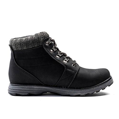 Zaone Herren Winter Warm Martin Stiefel Combat Boots Wasserdicht Leder Winterschuhe Outdoor Schuhe Schwarz