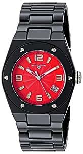 Swiss Legend Throttle Femme 40mm Bracelet & Boitier Céramique Noir Quartz Cadran Rouge Montre 10054-BKRTSA