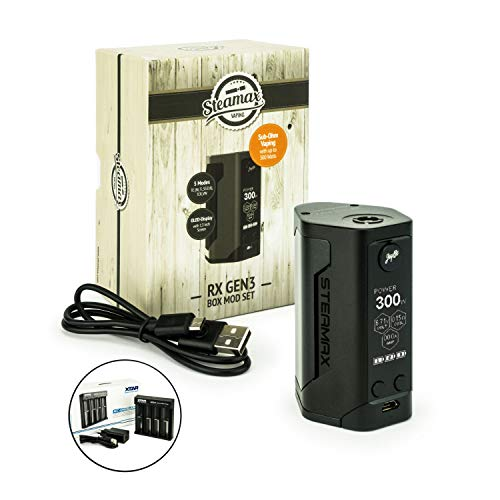 Steamax/Wismec RX Gen3 Akkuträger 300 Watt inkl. Xtar MC4 Ladegerät Mod-Box-Set E-Zigarette E-Shisha (Produkt enthält kein Nikotin) (schwarz)