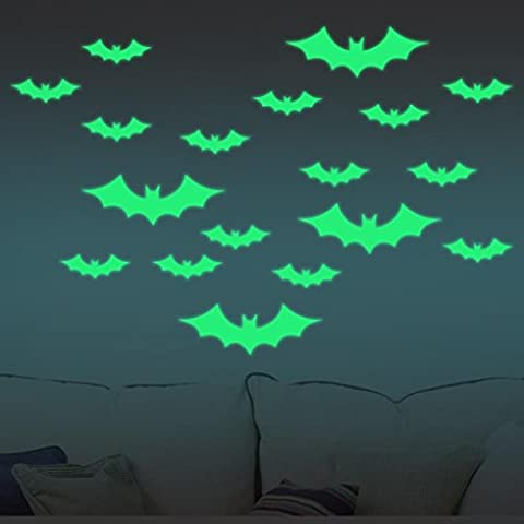 Indexp DIY Glowing in the Dark Halloween Bat Witches Wall Stickers, Creative Festival Decoration Decal (4 Large and 9 Small