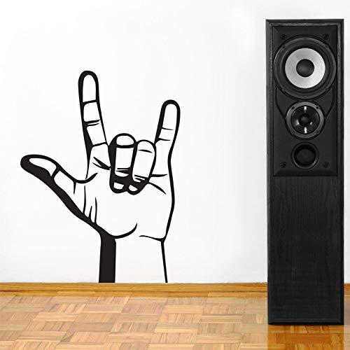 jiuyaomai Rock & Roll Hand Kunstwand Schablone Dekoration Wandaufkleber Für Wohnzimmer Wohnkultur Vinyl Wandtattoos Schlafzimmer Poster schwarz 57X77 cm