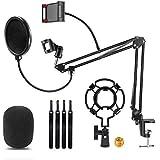 ZPXTI Soporte de micrófono profesional ajustable, brazo de micrófono con araña y adaptador clip de micrófono, adaptador de 3/