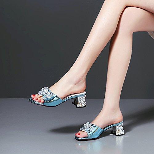 ZYUSHIZ Frau Geleitet ziehen Sie die coole Schuhe Bold Text mit Semi-Slippers synthetische Das erste Feld Hausschuhe High-Heel Blau