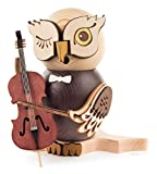 Kuhnert Räucherfigur Eule mit Cello Original Erzgebirge Handarbeit Rauchfigur in modernem Design Raucheule Weihnachtsdeko Räuchermännchen für Weihnachten