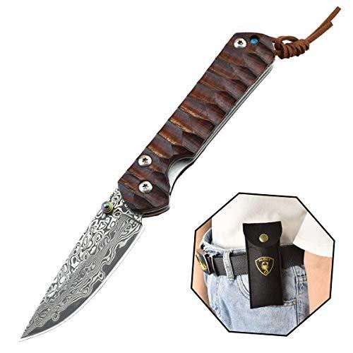 AUBEY Damast Klappmesser VG10 Damaststahl Taschenmesser Holzgriff Messer Outdoor Damastmesser Scharf Holz Folder Pocket Knife Geschenke Männer