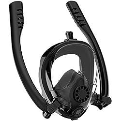 TTHU Masque de Masque Complet avec Tuba Flexible et Support de caméra, Lunettes de Masque de plongée pour Adultes, Masque de plongée Respirant Anti-buée et Anti-buée,Black,S/M