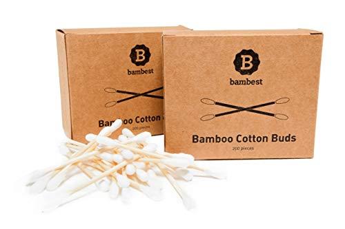 Bastoncillos de Algodón de Bambú   Paquete de 2 (400 Unidades)   Eco-Amigable   Palitos Orejas   100{d77dfef5bedc5b73954c78f16c0d4e9265ef3c2b001322bc1d32600ae2127e58} Biodegradable   Desmaquillador