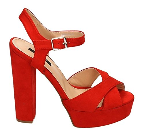 Damen Riemchen Abend Sandaletten High Heels Pumps Slingbacks Velours Peep Toes Party Schuhe Bequem 07 (40, Rot) Stiletto Heel Slingback