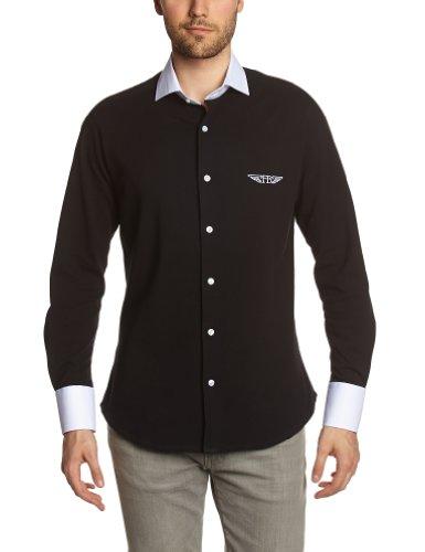 Fernand Bachmann Herren Business Hemden  ,Uni Schwarz
