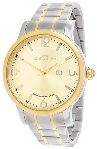 Lindberg&Sons LSSM202 montre homme /Affichage de la date/Mouvement Quarz/Montre suisse analogue/Bracelet en acier inoxydable