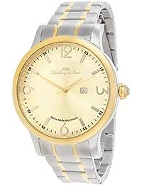 Lindberg & Sons LSSM202 - Reloj de pulsera con fecha analogico para hombre, de cuarzo, calibre suizo, acero inoxidable, plateado