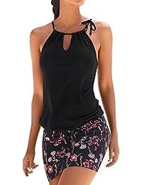 Mujer Blusa verano,Sonnena ❤ ❤ sexy off hombro blusa con tirantes Patrón de nacional estilo estampado sin manga…