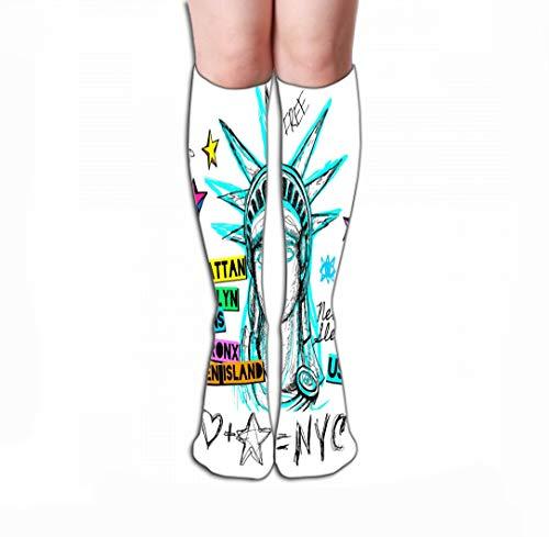 Xunulyn Hohe Socken Men Women Outdoor Sports High Socks Stocking New York Design Poster Print Statue Liberty Lettering map trendy Dry Brush Stroke Marker Color Pen Ink Tile Length 19.7