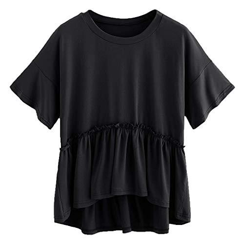Plissierter Saum Rüschen Kurzärmliges Oberteil Tops Unterhemd, JMETRIC Fashion O-Neck Locker und Bequem Kurzarm T-Shirt(Schwarz,L)