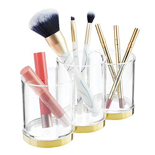 mDesign praktischer Kosmetik Organizer - dekorative Kosmetik Aufbewahrungsbox für Pinsel und Wimperntusche - Ablage mit 3 Fächern zur Schminkaufbewahrung - durchsichtig und messingfarben