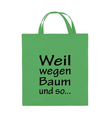 Comedy Bags - Weil wegen Baum und so - Jutebeutel - kurze Henkel - 38x42cm - Farbe: Schwarz / Pink Grün / Schwarz