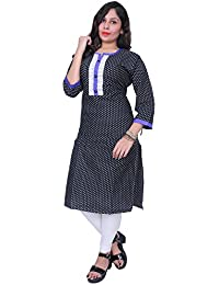 Kurti Thari Choice Women Kurtis 3/4 Sleeve Women Multi Colred Cotton Straight Stitch Kurti For Women And Girls