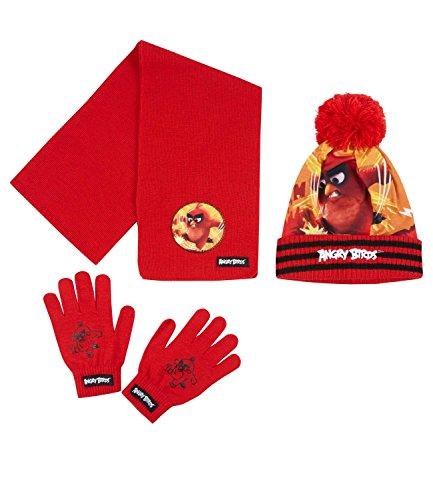 Angry Birds Ragazzi Confezione da 3 pezzi: sciarpa, berretto e guanti - rosso - 54