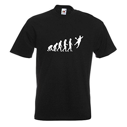 KIWISTAR - Evolution Handballer T-Shirt in 15 verschiedenen Farben - Herren Funshirt bedruckt Design Sprüche Spruch Motive Oberteil Baumwolle Print Größe S M L XL XXL Schwarz