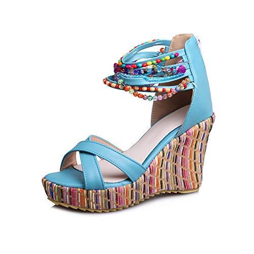 Donne Ragazze Elegante Sandali Tacco Alto Sandali Peep Toe Scarpe(Blue-43)