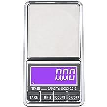 Ewolee Báscula de Bolsillo 0.01g/500g ,Mini Báscula Profesional Digital Electrónica de Joyería de la Escala Bolsillo Escala Balanza de Precisión ( Batería o una conexión USB)