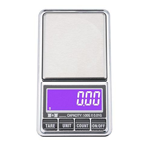 Ewolee Bilancia Digitale Tascabile di Precisione 0.01g/500g, Bilancia Gioielleria Ricarica USB e Batterie