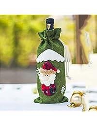 HaiQianXin Cubiertas de Botellas de Vino Tinto de Navidad Vajilla Decoración de Mesa Adornos Decoración Navidad