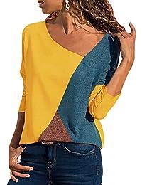 59c3af003f8a1 Yidarton Femmes Casual Lache Col en V Asymétrique T-Shirt Manches Longues  avec Patchwork Bloc de Couleur Haut Tops Blouse Tunique…