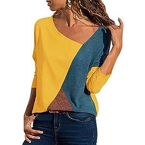 Damen Casual Patchwork Farbblock Langarm T-Shirt Asymmetrischer V-Ausschnitt Langarmshirt Tops Sweatshirt Tunika Top Pullover Bluse Oberteil