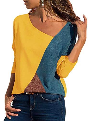 Damen Casual Leopard Patchwork Farbblock Langarm T-Shirt Asymmetrischer V-Ausschnitt Langarmshirt Tops Sweatshirt Tunika Top Pullover Bluse Oberteil (Gelb, X-Large)