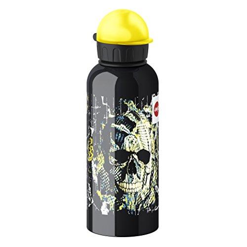 Emsa 514406 Kinder-Trinkflasche, 600 ml, Sicherheits-Verschluss, 100% dicht, Teens Skull