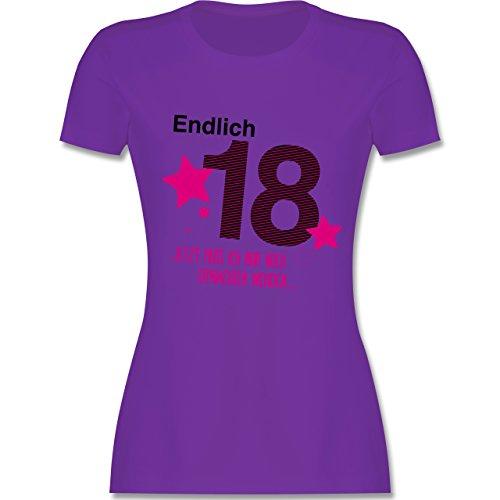 Geburtstag - Endlich 18 - M - Lila - L191 - Damen T-Shirt Rundhals